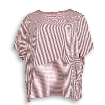 Anybody Women's Plus Top Cozy Knit Mixed Stripe Mauve Pink A349809