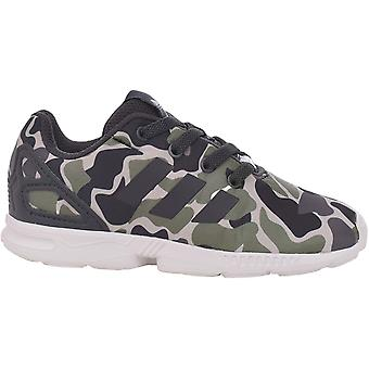 adidas Originals Boys ZX Flux EL I Lace Up Camo Casual Trainers Shoes Green