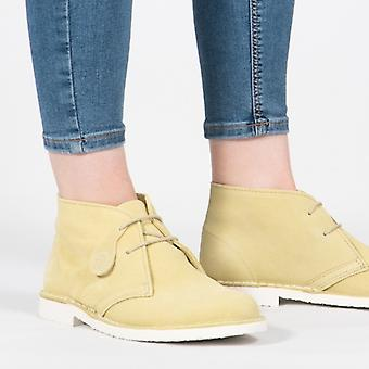 Popps Pastel Ladies Suede Casual Desert Boots Mellow Yellow