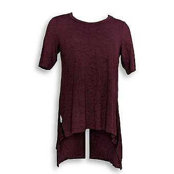 Lisa Rinna Collection Women's Top Short Sleeve Knit Red A289001