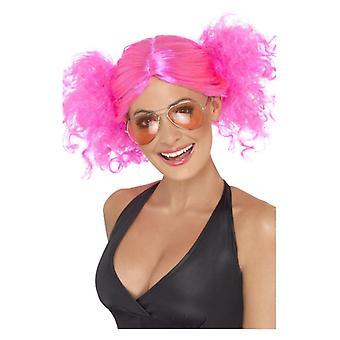 Womens 80 s Buncihes perruque néon rose déguisements accessoires