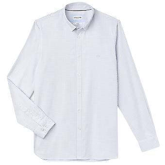 Lacoste Mens Check Long Sleeve City Cotton Down Collared Slim Fit Shirt