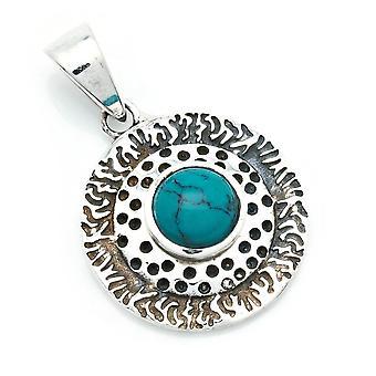 Amuleto de pingente de corrente prata 925 Sterling Silver Blue Green Stone (No: MAH 136-15)