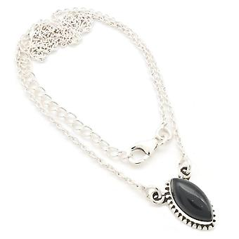 Onyx Necklace 925 Silver Sterling Silver Necklace Black (MCO 11-03)
