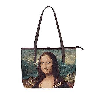 Da vinci - mona lisa shoulder tote bag by signare tapestry / coll-art-ldv-mona