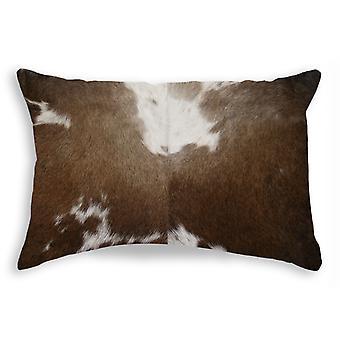 "12"" x 20"" x 5"" Chocolate And White Torino Kobe Cowhide - Pillow"