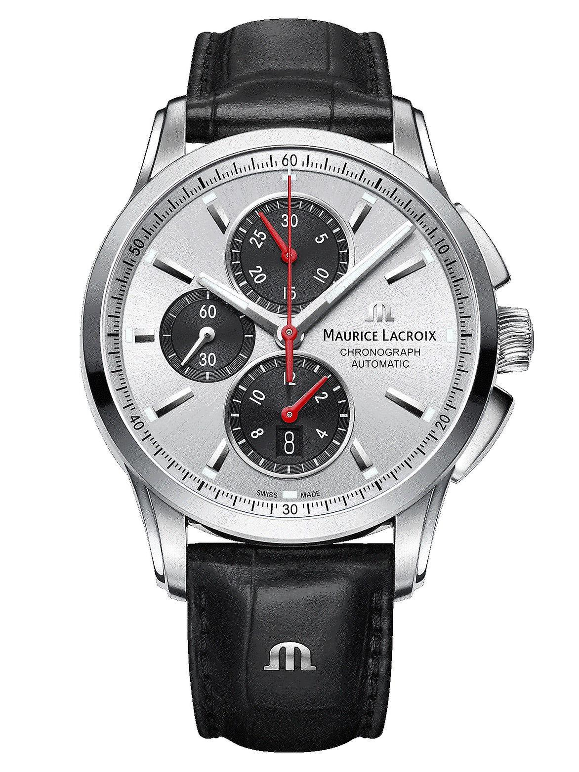 Maurice LaCroix Pontos Automatic Silver Dial Black Leather Strap Chronograph Watch PT6388-SS001-131-1