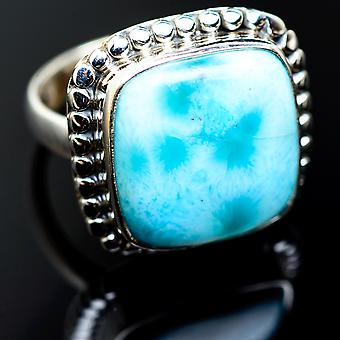 Large Larimar Rings 8 (925 Sterling Silver)  - Handmade Boho Vintage Jewelry RING985230