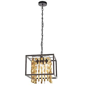 Endon Daya 4 Light Pendant Light Matt Black & Matt Gold 81962