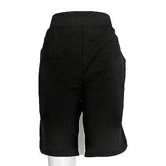 Denim & Co. Women's Shorts French Terry Pull-On Black A351340