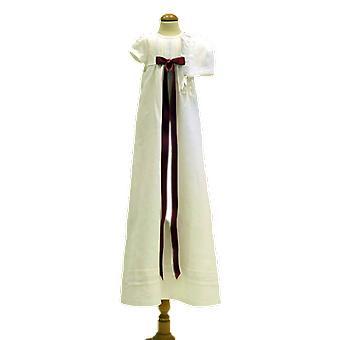 Dopklänning Med Dophätta, Kort ärm, Mörk-rosa Rosett. Grace Of Sweden