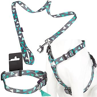 Adjustable Pet Puppy Dog Collar, Lead & Step In Harness Set - Grey/Green - S