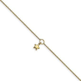 14k Gold Polished Star Charm With 1inch Ext. Anklet 10 Inch Jewelry Gifts for Women - 2.1 Grams