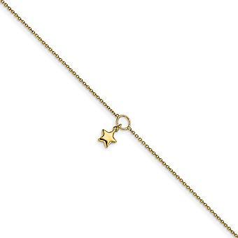 14k Ouro Polonês Star Charm com 1polegada Ext. Anklet 10 Inch Joias Presentes para Mulheres - 2.1 Gramas