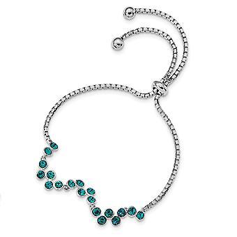 2mm 925 Sterling Silver Rhodium plaqué Blue Zircon Réglable Bracelet Bijoux Cadeaux pour les femmes