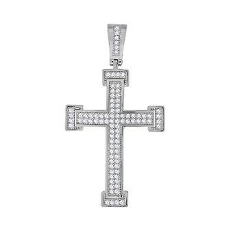 925 שטרלינג כסף נשים תחתוני מונקס סיבוב CZ הצלב דתי אופנה תליון קסם שרשרת מדדים 43. מתנה לתכשיטים