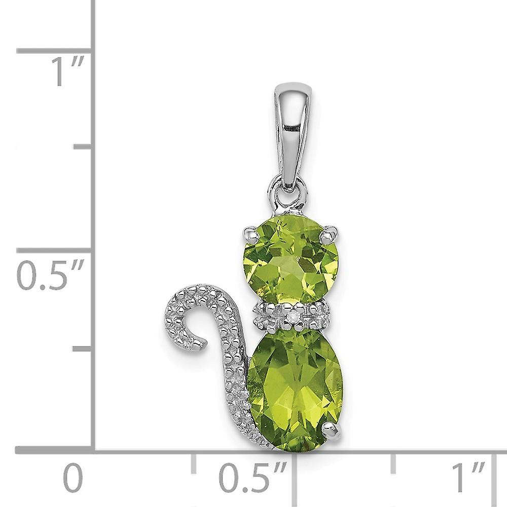 925 Sterling Silver Peridot and Diamond Cat Pendant Necklace Jewelry Gifts for Women