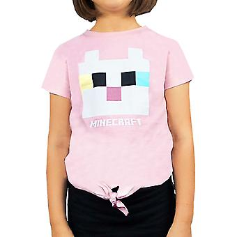 Minecraft Kitty Front Tie Girl's Pink T-Shirt Gamer Tee