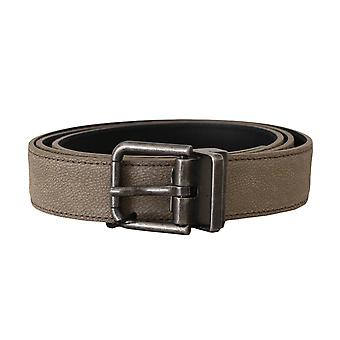 Dolce & Gabbana Brown Leather Brushed Metal Buckle Belt