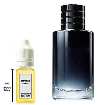 Christian Dior Sauvage For Him Inspired Fragrance 30ml Refill Essential Diffuser Oil Burner Scent Diffuser