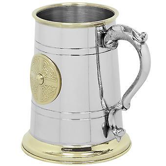 Keltische Messing Plakette Zinn Tankard - 1 Pint