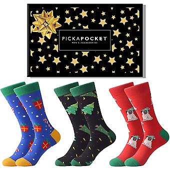 Christmas pug theme gift box 3 pairs of socks