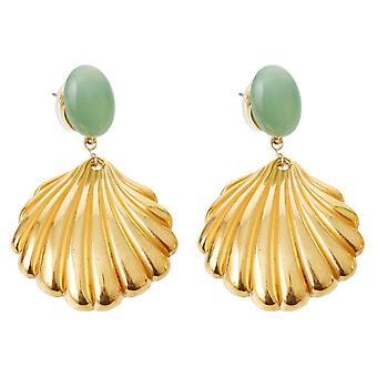 Gemshine Maritim Boucles d'oreilles Chalcedon Sea Green Shell doré