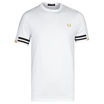 Fred Perry Abstract Cuff Snow White T-Shirt