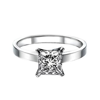 1.4 Carat E SI1 Diamond Engagement Ring 14K White Gold Solitaire 4 Prongs Princess