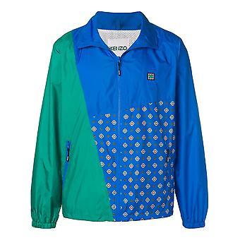 Kenzo Ezcr009018 Men's Azul/verde Nylon Outerwear Jacket