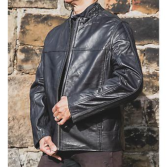 Nordvek Mens Leather Jacket - Biker Style Leather Coat # 714-100