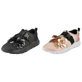 Spot On Womens/Ladies Flower Trim Trainers