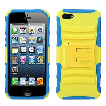Asmyna Advanced Armor Stand Case pour Apple iPhone 5/5S - Sarcelle jaune/tropical