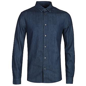 Armani Exchange Slim Fit Dark Navy Denim Shirt