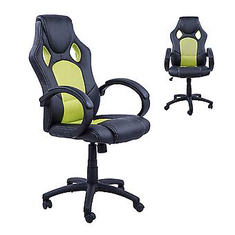 HOMCOM Racing Office Chair PU Leather Executive Desk Chair Gaming Swivel Adjustable Computer Chair (Black & green)