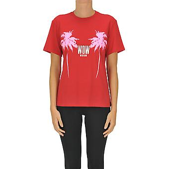 Msgm Ezgl020133 Women's Red Cotton T-shirt