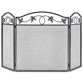 3 Panel Folding Iron Fire Panel Fireplace Screen Fireside Fireguard Protector
