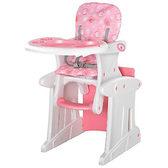 HOMCOM 3-in-1 Convertible Baby High Chair Booster Seat w/ Removable Tray Safety Harness Padding Seat Anti-Slip Feet Table Dinning Feeding Chair Set Pink
