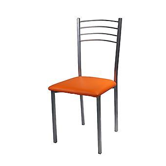 Sedia Teresa Color Arancione, Cromo in PVC, Metallo 40x40x88,5 cm
