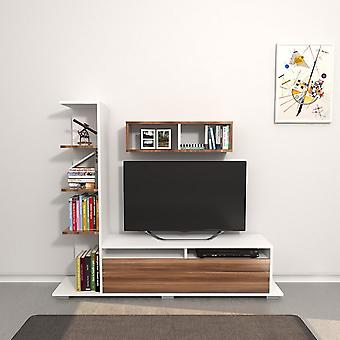 Mobile Argo TV Tür Farbe weiß, Holz in Melaminic Chip 150x28.5x125 cm, 70x20x20 cm