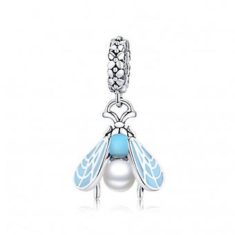 Sterling Silver Pendant Charm Blue Moth - 6611