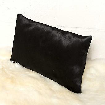 """12"""" x 20"""" x 5"""" Black Cowhide - Pillow"""