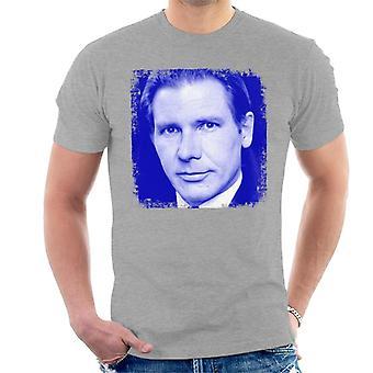 Harrison Ford blå portrett menn t-skjorte