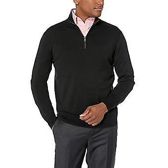 BUTTONED DOWN Men's Supima Cotton Lightweight Quarter-Zip Sweater, black, Large