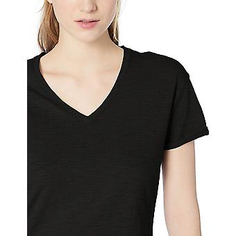 Marque - Daily Ritual Women's Lived-in Cotton Roll-Sleeve V-Neck T-Shirt, Noir, X-Large