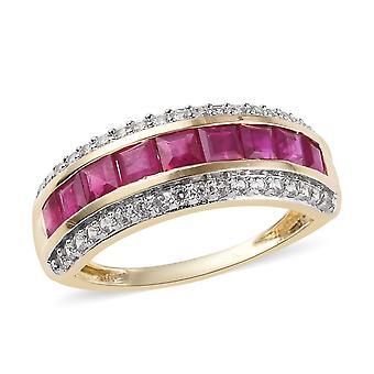 AAA Burmese Ruby 9ct Yellow Gold Half Eternity Ring Cambodian Zircon TJC