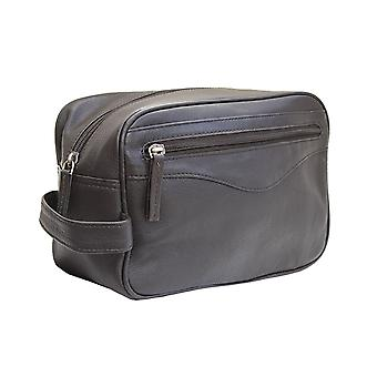Primehide Classic Leather Washbag - Toiletry Shave Bag - Carry Handle - 918