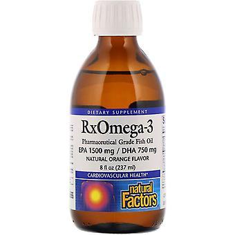 Natural Factors, Rx Omega-3, Natural Orange Flavor, 8 fl oz (237 ml)