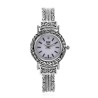 """EON 1962 Swiss Movement Water Resistant Bracelet Watch in Sterling Silver Sz 8"""""""