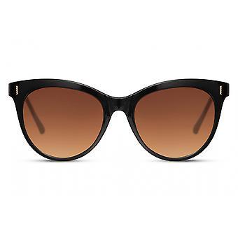 النظارات الشمسية المرأة فراشة كامل الحافة القط. 3 أسود / بني